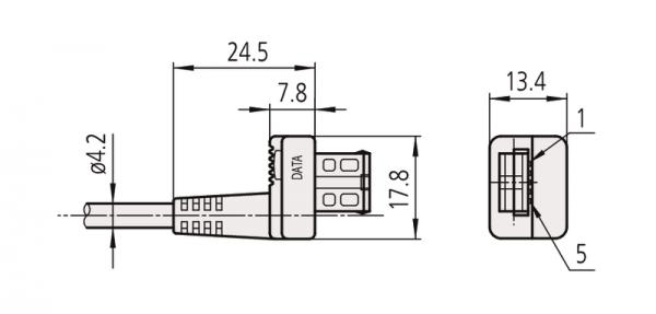 Cáp truyền dữ liệu cho thiết bị điện tử loại đầu thẳng, 1m Mitutoyo, 959149