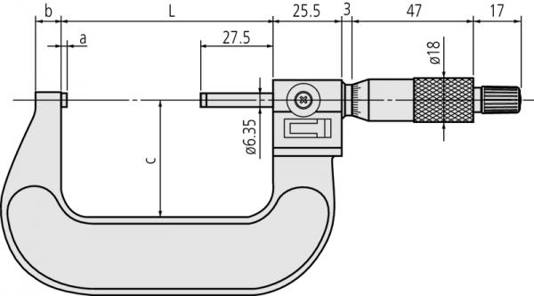 Panme Cơ Khí Đo Ngoài 0-25mm Mitutoyo, 193-101