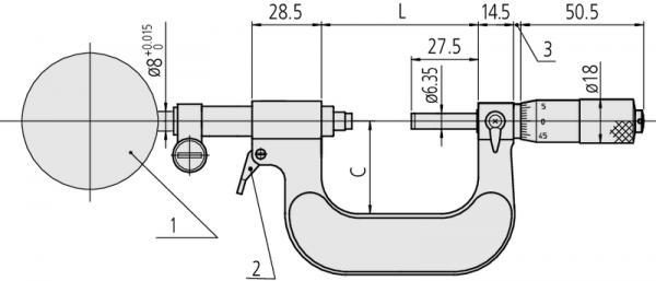 Panme Cơ Khí gắn đồng hồ 150-175mm Mitutoyo, 107-207