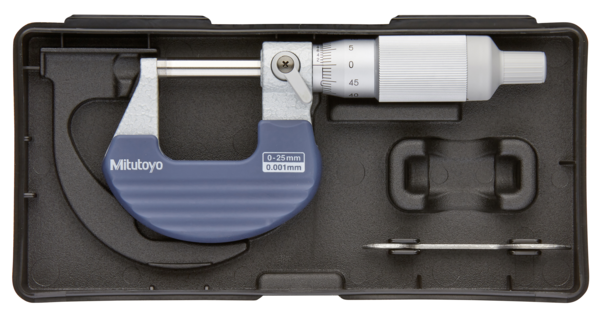 Panme Cơ Khí Đo Ngoài 0-25mm/ 0,01mm Mitutoyo, 102-707 (Khung cách nhiệt, Ratchet Thimble Micrometer)