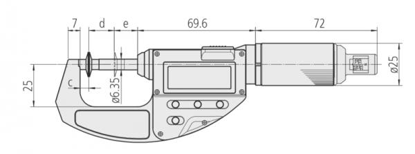 Panme Điện Tử Đo Ngoài Đo Bánh Răng 0-10mm, 2-10N, Disk=14,3mm Mitutoyo, 227-223-20
