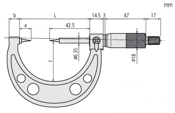 """Panme Cơ Đo Ngoài Đầu Nhọn Đo Rãnh Mitutoyo, 2-3"""", 15° Tip, 112-191"""