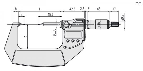 """Panme Cơ Đo Ngoài Đầu Dạng Lưỡi Đo Rãnh Mitutoyo, 0,75mm, 2-3"""", 422-332-30"""