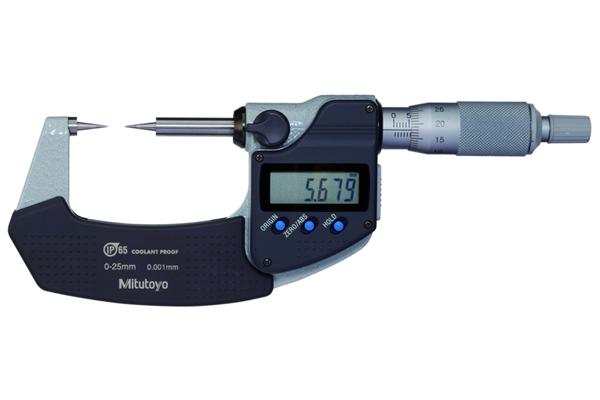 Panme Điện Tử Đo Ngoài Đầu Nhọn Đo Rãnh, Digital Point Micrometer IP65 0-25mm, 15° Tip, 342-251-30