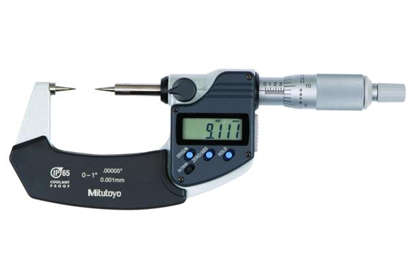 """Panme Điện Tử Đo Ngoài Đầu Nhọn Đo Rãnh, Digital Point Micrometer IP65 Inch/Metric, 3-4"""", 30° Tip, 342-364-30"""
