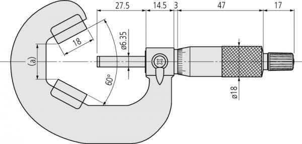Panme Cơ Đo Ngoài Đầu V_Anvil Mitutoyo, 25-45mm, 114-122