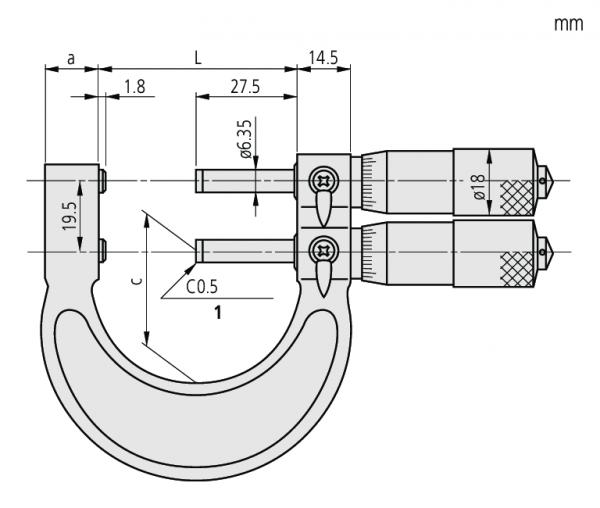 Panme Cơ Đo Ngoài Đo Độ Dày Ống Hai Trục Giới Hạn Mitutoyo, 25-50mm, 113-103