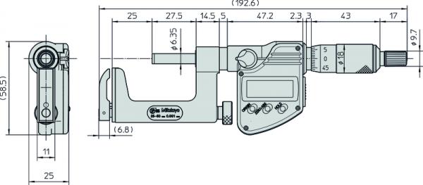 Panme Cơ Đo Ngoài Đo Độ Dày Ống Mitutoyo, 25-50mm, 317-252-30