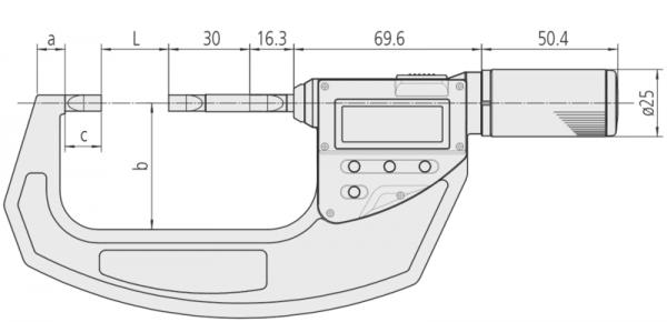 Panme Cơ Đo Ngoài Đầu Dạng Lưỡi Đo Rãnh Mitutoyo, IP65, 0-30mm, 422-411-20