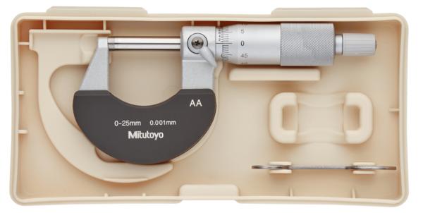 Panme Cơ Khí Đo Ngoài 0-25mm/ 0,001mm Mitutoyo, 102-311 (Khung cách nhiệt)