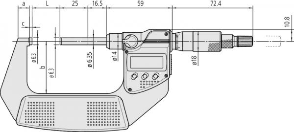 Panme Điện Tử Đo Ngoài 25-50mm Mitutoyo, 406-251-30