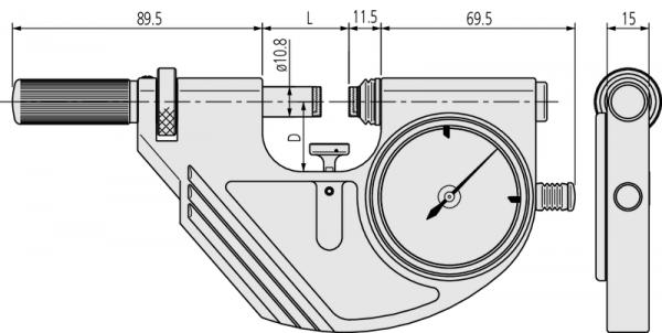 Panme Cơ Đo Ngoài Đồng Hồ Đo Nhanh Mitutoyo, 25-50mm, 523-122