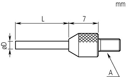 Kim đo đồng hồ so D=1,5mm, L=20mm, Carbide, Metric Mitutoyo, 21AAA337