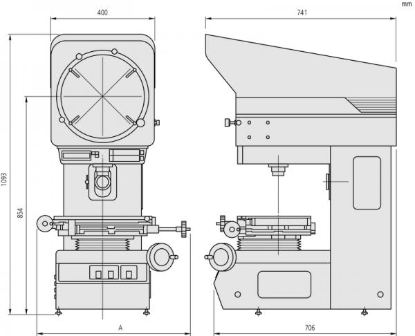 Máy chiếu phóng đại Measuring Projector PJ-A3010F-100, XY=100 x 100 mm, 302-703-1E