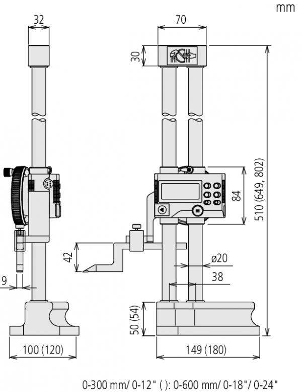 Thước đo cao điện tử hai thân trụ 0-300mm Mitutoyo, 192-663-10