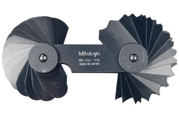 Dưỡng Đo Bán Kính, 7,5-15mm, 32 lá Mitutoyo, 186-106